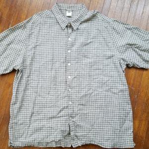 Old Navy Windowpane Plaid Linen Button Up Shirt